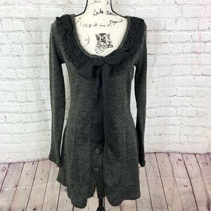 A'REVE Knit Ruffle Trim Long Cardigan